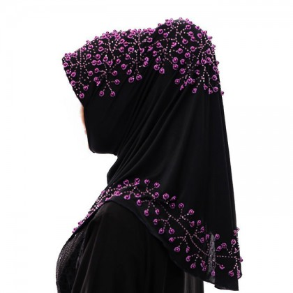 Purple Pearl Black Hijab