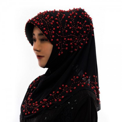 Red Pearl Black Hijab