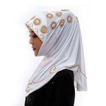 White Orange Flower Hijab
