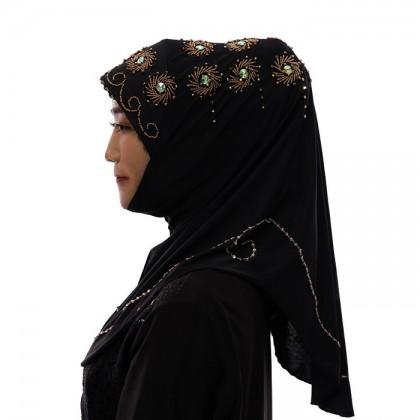 Yellow Flower Black Hijab